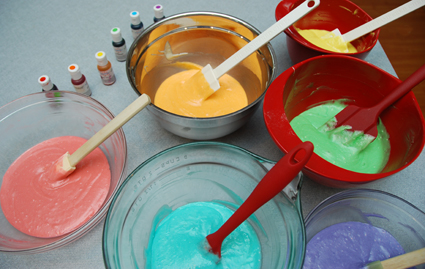 Coloring rainbow cake batter