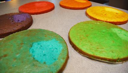 Baking rainbow cakes