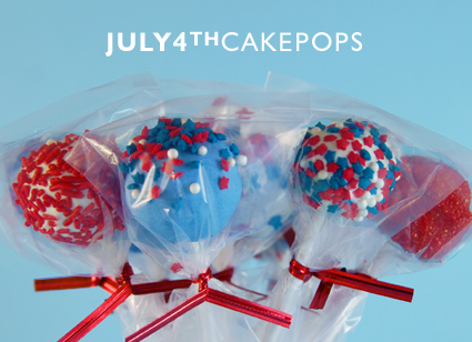 Making July 4th cake pops