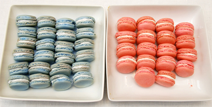 Pink and blue baby shower macarons
